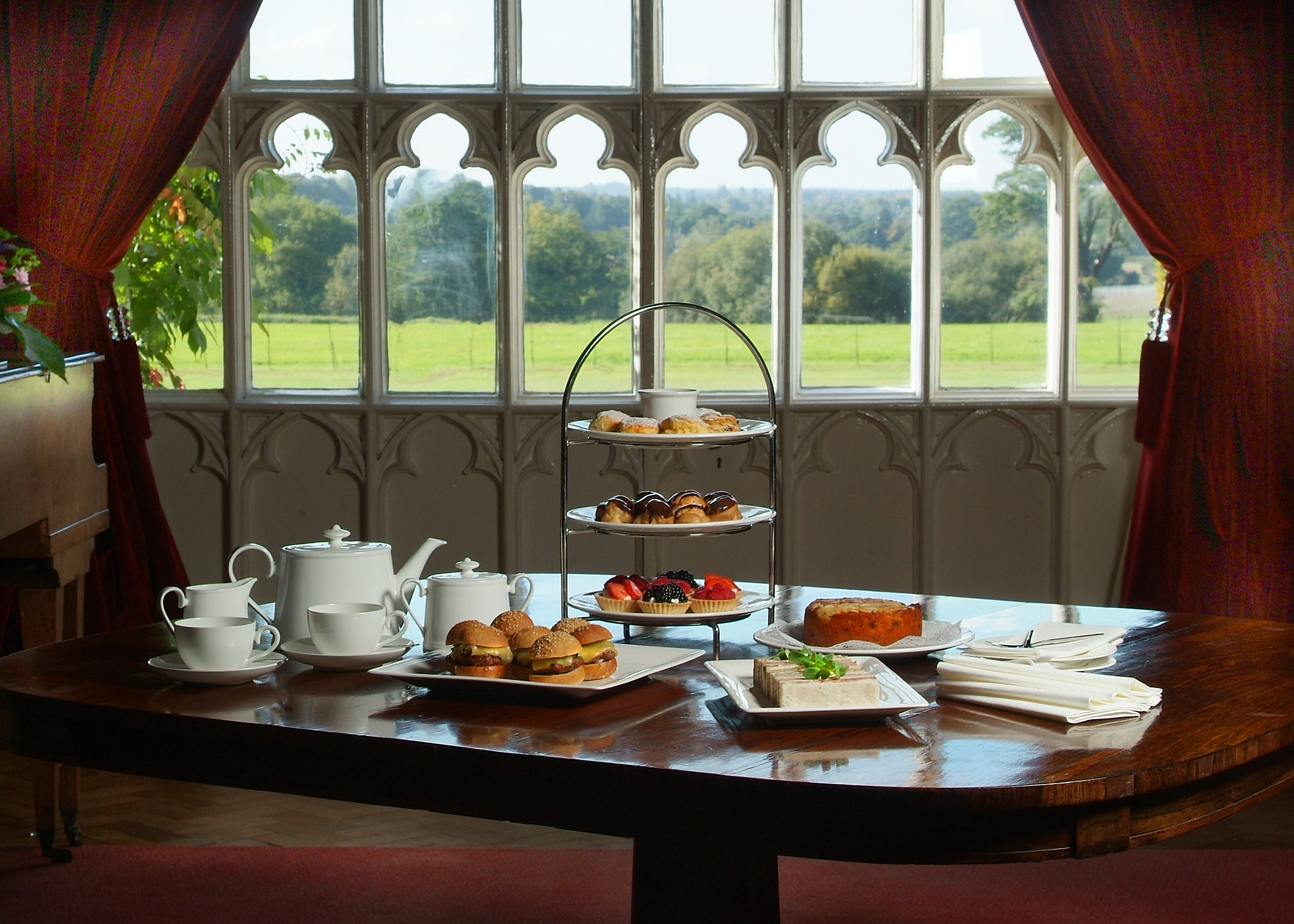 Afternoon tea in the Tapestry Hall, Cumberland Lodge