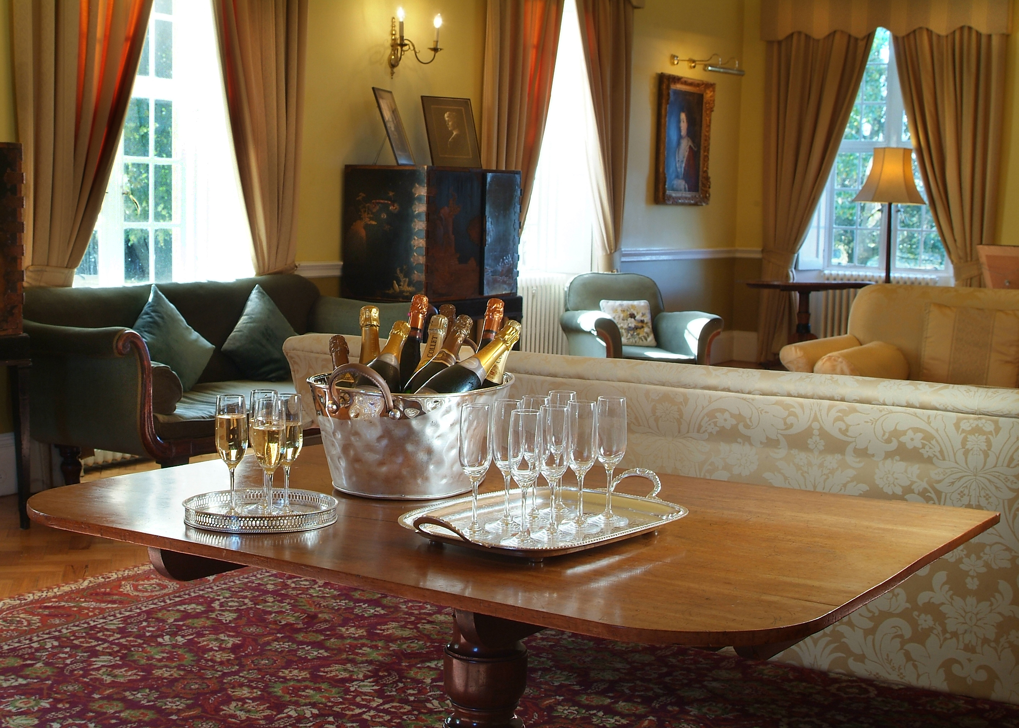 Champagne reception in the Drawing Room, Cumberland Lodge