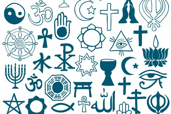 Collage of religious and belief symbols, to denote freedom of religion or belief (used for the Cumberland Lodge Emerging International Leaders programme on FoRB)
