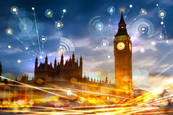 Image of the Houses of Parliament, with digital icons and connections to suggest networking and connectivity in a digital age