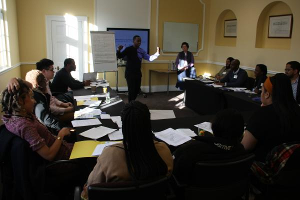 International students and young leaders from across the Commonwealth, taking part in group work at a Cumberland Lodge youth symposium, 2019