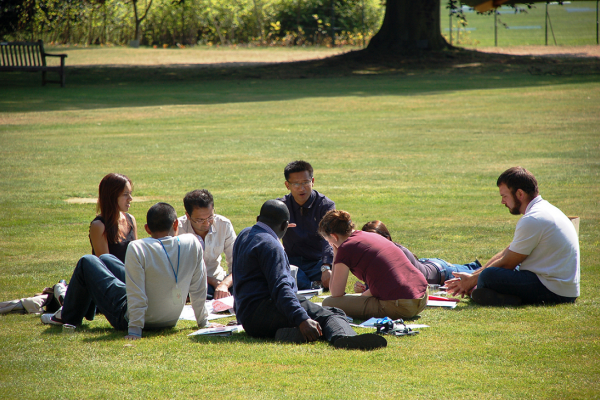 Students on the Cumberland Lodge Lawn