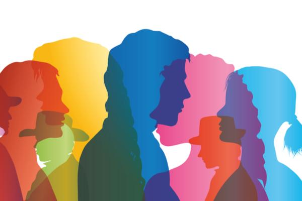 Colourful silhouettes of people in dialogue