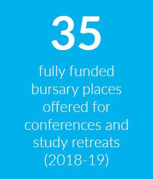 Block to show that Cumberland Lodge provided 35 fully funded bursary places to help students attend its conferences and study retreats in 2018-19