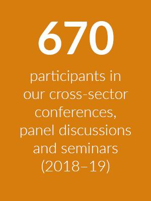 Block showing that 670 people participated in cross-sector conferences, panel discussions, consultations and report launches at Cumberland Lodge in 2018-19