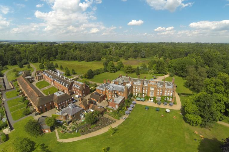 Aerial view of Cumberland Lodge in Windsor Great Park