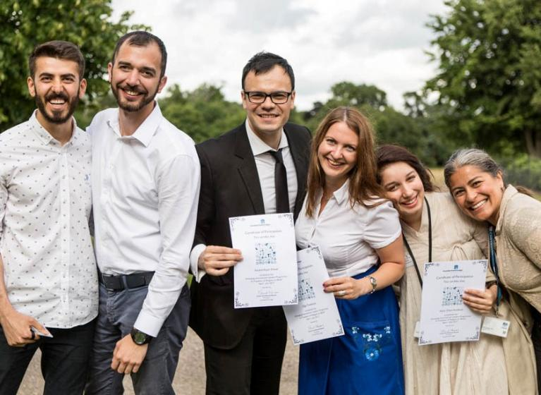 International student graduates from our Emerging International Leaders programme on Freedom of Religion or Belief, with their certificates of completion