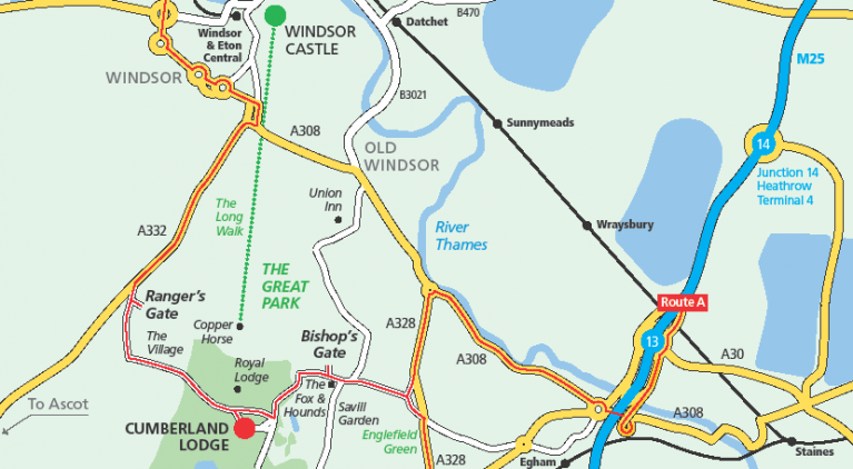 Map of how to find Cumberland Lodge in Windsor Great Park