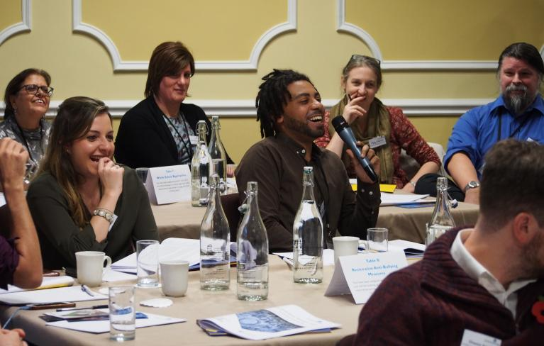 Cumberland Lodge Scholar taking part in a cross-sector discussion at Cumberland Lodge